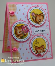 A Beary Birthday by Hearth_Cricket - Cards and Paper Crafts at Splitcoaststampers Card Making Inspiration, Making Ideas, Kids Cards, Craft Cards, Dog Cards, 1st Birthday Cards, Baby Girl Cards, Get Well Cards, Mothers Day Cards