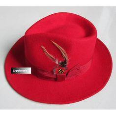 Men Women Red Australian Wool Winter Fashion Dress Fedora Hat SKU-159003