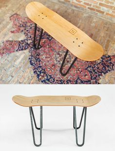 """The Steel one"" - Skateboard Furniture by @bakedroast. #skateboard #furniture"