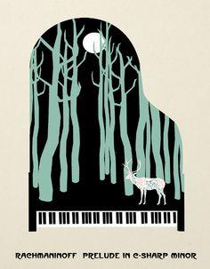 Rachmaninoff Prelude in C-Sharp Minor  Art Print by Prelude Posters #piano #preludeposters
