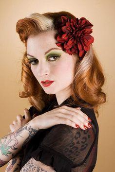 cherrydollface | Cherry Dollface wearing the Velvety Red Dahlia w/ Swarovski Crystals ...