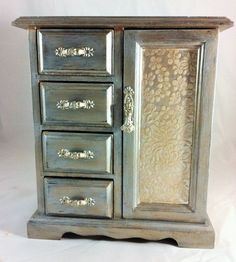 Vintage Jewelry Box Armoire, Hand Painted with Silver and Gold Metallic, Handmade Textured Silver Paper, Jewelry Storage, Jewelry Cabinet $50.00