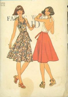 1970's Simplicity 7545 Sewing Pattern Misses Wrap Skirt Halter Top size Large