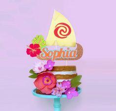 Moana Sail Boat Cake Topper Personalized Cake Topper Luau