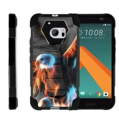 HTC 10 M10 Case SHOCK FUSION High Impact Hybrid Dual Layer Kickstand - Blazing Eagle