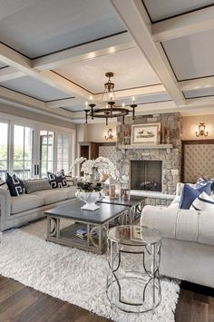 Luxury Interior Design Ideas – via Houzz - Best Home Deco Chic Living Room, Home And Living, Cozy Living, Small Living, Living Room Decor Elegant, Beautiful Living Rooms, House Beautiful, Neutral Living Rooms, Rustic Modern Living Room