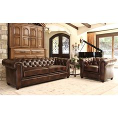 ABBYSON LIVING Tuscan Premium Italian Leather Sofa and Armchair Set - Overstock Shopping - Big Discounts on Abbyson Living Living Room Sets