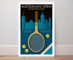AUSTRALIAN OPEN TENNIS poster retro style sports by Kinographics