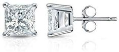 IGI Certified Carat Natural Princess Cut Solitaire Diamond Stud Earrings for Women - White Gold 4 Prong Basket with Push Backs (H-I Color, Clarity) Princess Cut Diamond Earrings, Diamond Solitaire Earrings, Princess Cut Diamonds, Diamond Studs, Round Earrings, Women's Earrings, Moissanite Bridal Sets, Luxury Jewelry, White Gold Diamonds