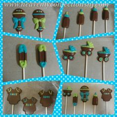 Blue, green, and brown baby shower lollipops