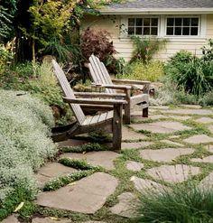 Weathered patio stones.  like the sedum planted between stones.