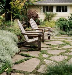 Weathered patio stones.  like the sedum planted between stones.