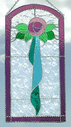"""Rose with Aqua Ribbon Glass Stained Glass Suncatcher Panel - 8"""" x 17"""" _ $65.95"""