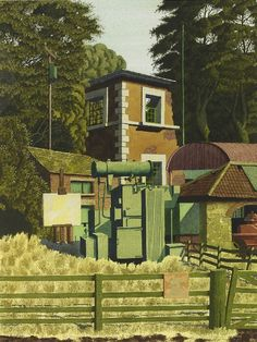 The Electricity Substation - Simon Palmer - Portland Gallery Field Of Dreams, Landscape Paintings, Landscapes, Watercolor Artists, Contemporary Landscape, Wood Engraving, New Art, British Artists, Forests