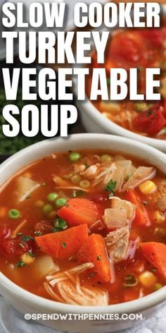 Slow Cooker Turkey Vegetable Soup is chock full of fresh veggies, turkey, seasonings, and broth! Serve with fresh buns or crackers, and this meal will fill up the whole family! #spendwithpennies #slowcookerturkeyvegetablesoup #recipe #soup #maindish #lunch #crockpot Slow Cooker Turkey Soup, Cooking Turkey, Turkey Vegetable Soup, Vegetable Soup Recipes, Slow Cooker Recipes, Crockpot Recipes, Cooking Recipes, Healthy Recipes, Crock Pot Soup
