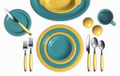 Turquoise and Sunflower  Check out my Colorama by Fiesta® customized table setting! Click to create your own.