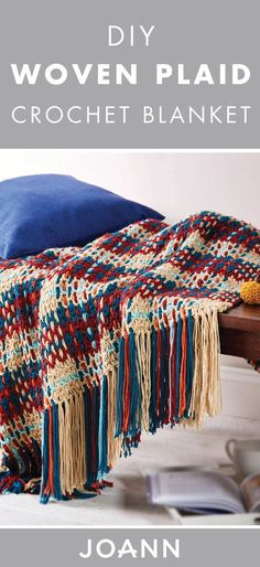 Love the look of this DIY Woven Plaid Crochet Blanket? Check out the full tutorial from JOANN to see how you can put your crochet skills to use to make it for your living room. Cozy and stylish, what more could you want? Source by joann Crochet Afghans, Motifs Afghans, Crochet Motifs, Afghan Crochet Patterns, Crochet Stitches, Knitting Patterns, Blanket Crochet, Freeform Crochet, Plaid Crochet