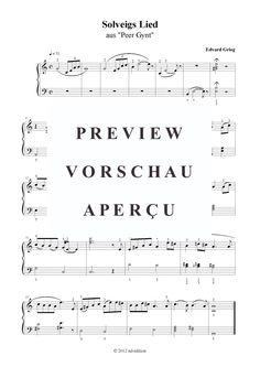 Solveigs Lied (Klavier solo einfach) Edvard Grieg (bearb. aus: Peer Gynt) >>> KLICK auf die Noten um Reinzuhören <<<
