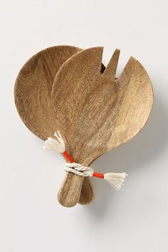 Paddle Salad Servers    Scoop up hearty servings of leafy greens with this round, chunky mango wood set. #anthropologie