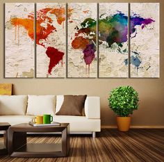 17678 large wall art world map canvas print watercolor world map map art world map on brick old wall canvas print map art print world map print canvas art print extra large retro world map print gumiabroncs Image collections