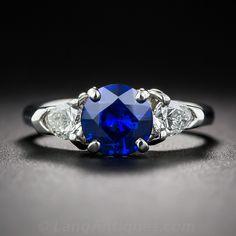 1.19 Carat Sapphire, Platinum and Diamond Ring - 30-1-7166 - Lang Antiques