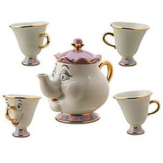 Mrs. Potts Tea Set. Beautifully crafted in fine china and trimmed in 24-kt. gold, this fun and functional tea set will bring memories pouring back.
