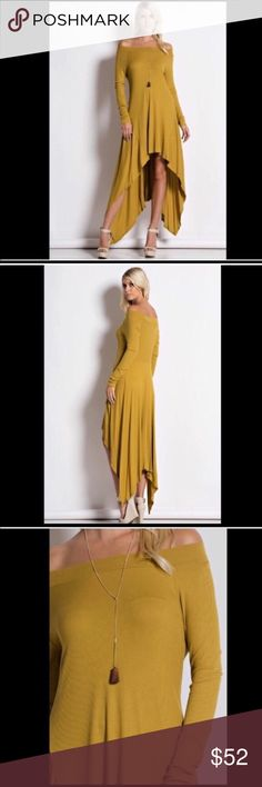 Stunning Mustard on/off shoulder trapeze dress! This on trend elegant dress features a trapeze cut and a longer flowy length in back- to wear on or off shoulder in beautiful mustard color! Made in USA Dresses