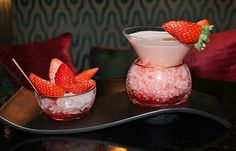 The 'Paradise Martini' at Flemings Mayfair Cocktail Bar! #MustTry #Strawberry #VodkaCocktail #BelvedereVodka