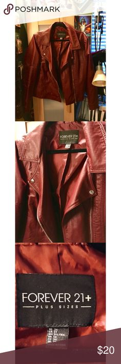 Burgundy Jacket Burgundy faux leather jacket in great condition just too big for me now Forever 21 Jackets & Coats