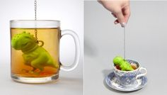 "Tea Accessory of the Day: ""Tea Rex"" as its name suggests is a T. rex-shaped tea infuser that's perfect for tea lovers and dinosaur aficionados alike."