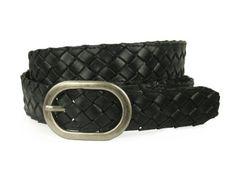1 1/4'' Braided Woven Leather Oval Belt, Black | M/L - 36 Made by #beltiscool Color #Black. Braided jean belt. Oval buckle. Wear with jeans or sportswear