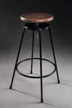 Industrial bar stool maple wood seat reclaimed wood restaurant - Crissie Alone Home