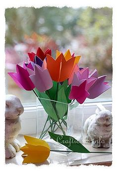 This pretty Spring Tulip Bouquet will be colorful gift to give to family or friends or you can make it to bring cheer into your own room.