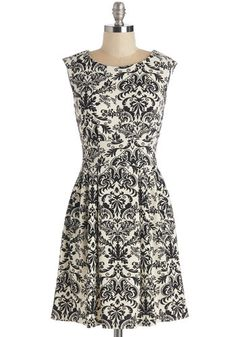 Having a Field Sway Dress - Black, White, Print, Work, A-line, Sleeveless, Short, Knit, Exposed zipper