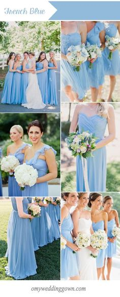 french blue bridesmaid dresses