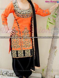 Elegant Orange and Black Punjabi Suit