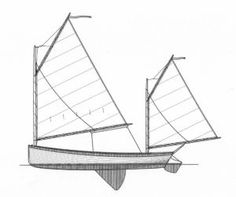 """N. G. Herreshoff Coquina Plans by D. N. Hylan & Associates Boatbuilders. 16'8"""" x 5'1"""". 450#, 130 Sq ft. Glue Lapstrake Clinker. Line steering (no tiller). Has a small skeg, shallow rudder, and hourglass stern. Small side decks, no foredeck."""