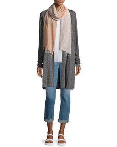 -6S4Z Eileen Fisher  Speckle Knit Draped Long Cardigan  Lightweight Jersey Long Tank  Stretch Boyfriend Jeans