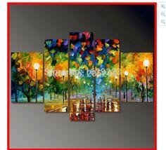 5 Tableau Crafts quadro Landscape Oil Painting on Canvas Palette Knife Wall Picture quadros de parede Home Deco