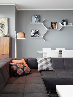 BoConcept Milos sofa & shelves - by BoConcept Chicago  Shop similar shelves and lights at www.buynbrag.com