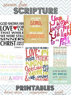 7 Free Scripture Printables | http://JellibeanJournals.com