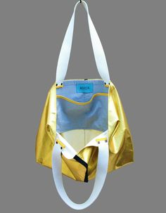 Goldene Baumwoll-Tasche im Metallic-Look / metallic golden cotton bag made by  Askida via DaWanda.com