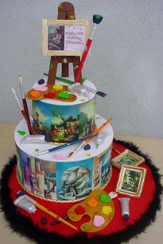 painting birthday cake Palette Theme Cake - Wood Grain ...