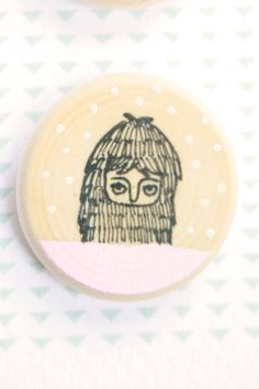 Wooden Earrings   Hand Painted Illustration  1 by MillyMilkVille, $6.50