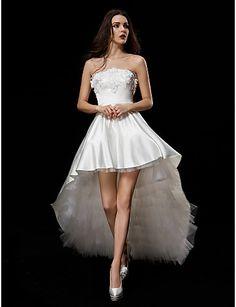 Vestido de Noiva Baile Sem Alças Assimétrico/Mullet (Cetim/Tule) – BRL R$ 478,77