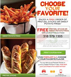 CHILI'S $$ Reminder: Coupon for FREE Order of Pretzel Sticks or Sweet Potato Fries – Ends TODAY (2/7)!