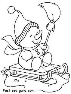 Printable Christmas snowman sledge coloring pages - Printable Coloring Pages For Kids
