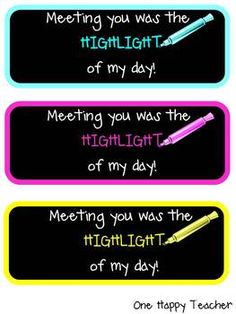 Great for Open House Day! Highlighter Gift Tags (Back to School) Give your students a neon colored highlighter as a gift and attach these cute tags to them! Back To School Night, Beginning Of The School Year, Back To School Gifts, Last Day Of School, School Fun, School Teacher, School Starts, School Stuff, Parents As Teachers