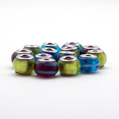 Lampwork Big Hole Beads 7 Pieces Assorted Blue and by HabitHobby