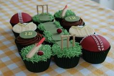 Clever cricket themed cupcakes